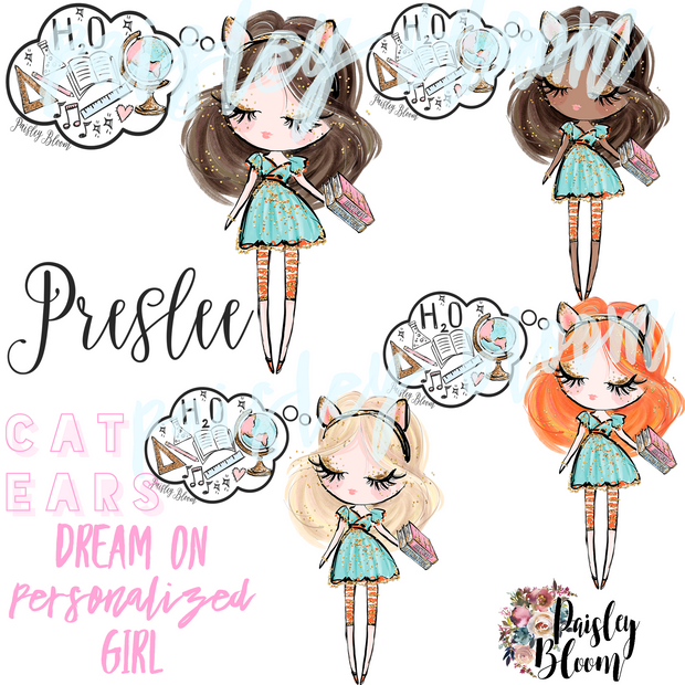 Dream On Personalized Girl Cat Ears Kids