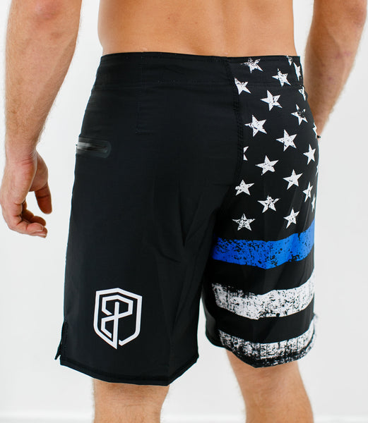 Born Primitive - American Defender Shorts 2.0 - Thin Blue Line Police Edition