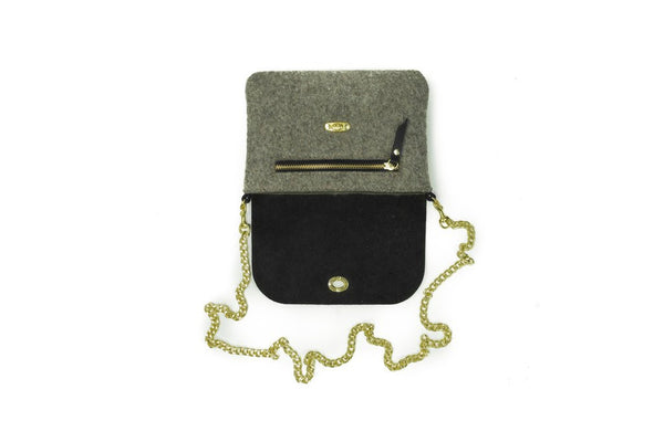 Sword and Plough - Wool Crossbody - Black Leather