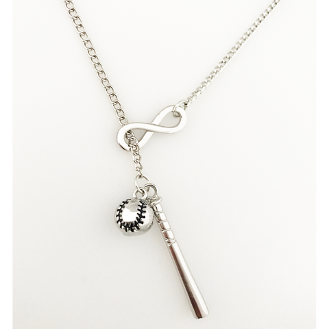 Sterling Silver Baseball Infinity Necklace