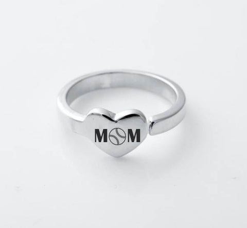 Baseball Mom Heart Ring