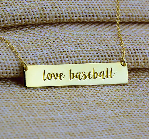 Love Baseball Bar Necklace