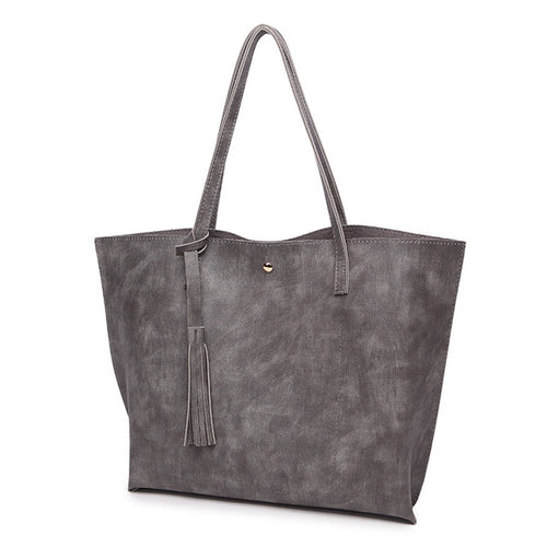 casual Tote Woman Fashion Bags pu Leather Tassel