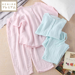 Crepe Gauze Ladies Short Sleeve Pajamas