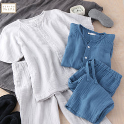 Crepe Gauze Mens Short Sleeve Pajamas