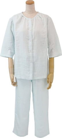Marshmallow Gauze Ladies No Collar Pajamas