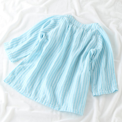 Marshmallow Gauze w Stripe ¾ Sleeve Ladies Pajamas