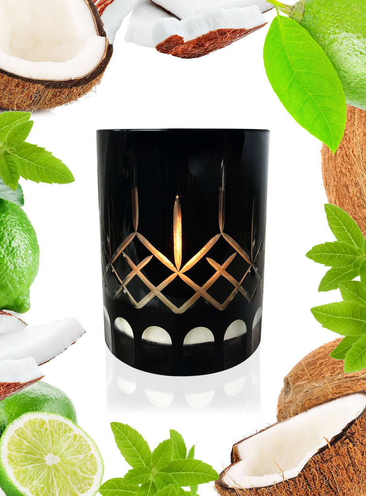 Lime & Coconut Crystal Series Long Burning Organic Coconut Wax Candle 500gm