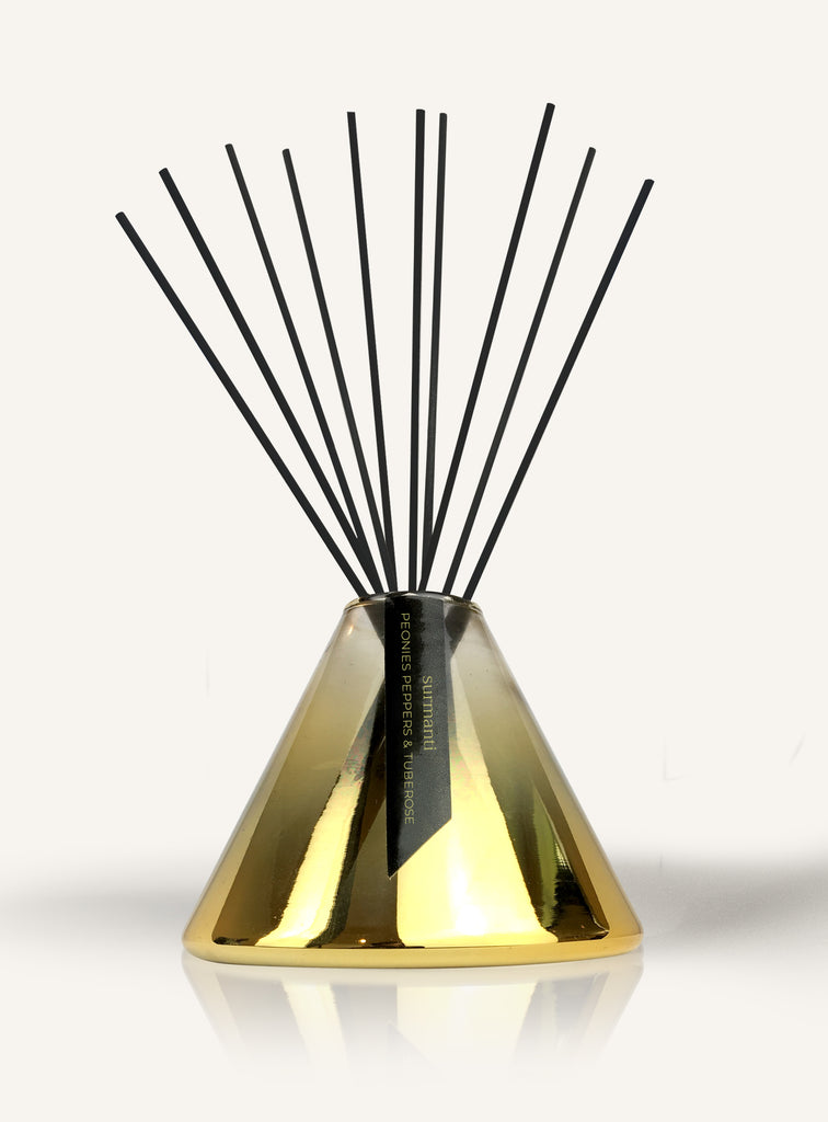 Peonies Peppers & Tuberose Gold Series Reed Diffuser