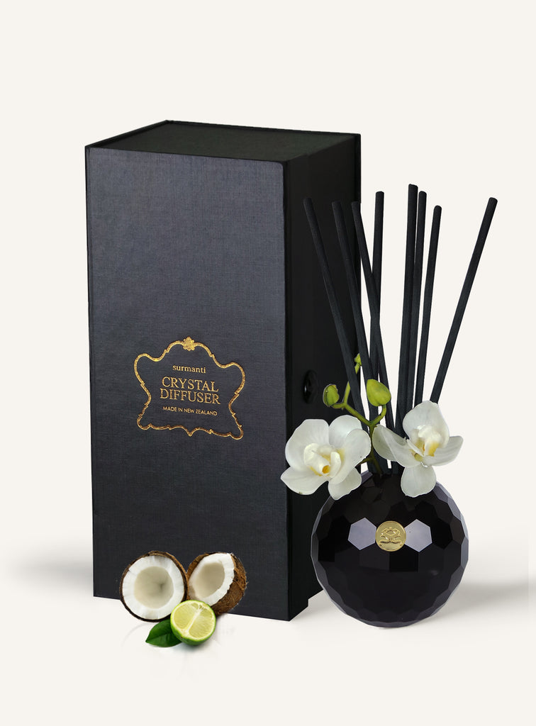 Lime & Coconut Lead Crystal Diffuser Set
