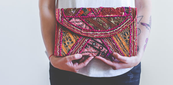 India Travel Clutch with Ribari Textiles