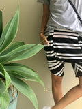 Black and White Stripe Harem Short
