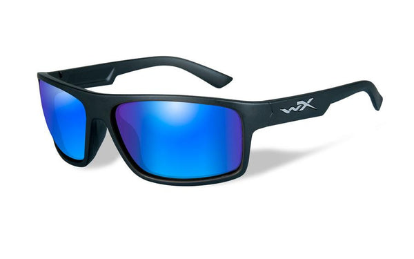 Wiley X Peak Sunglasses Polarized Blue Mirror Lens / Matte Black Frame - WarriorInc Tactical Gear