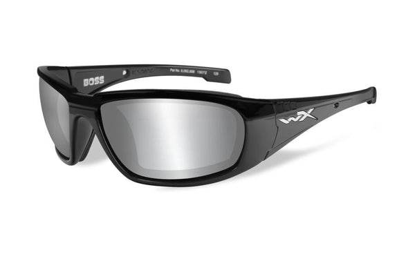 Wiley X Boss Sunglasses Silver Flash Grey Lens / Gloss Black Frame - WarriorInc Tactical Gear