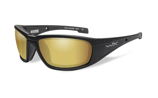 Wiley X Boss Sunglasses Polarized Venice Gold Mirror Lens / Matte Black Frame - WarriorInc Tactical Gear