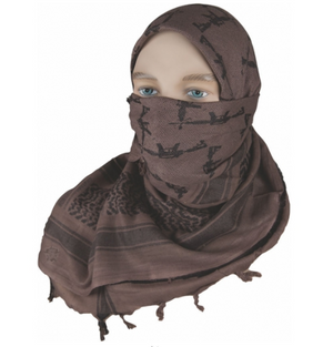 "5IVE Star Shemagh Desert Scarf Cotton Mocha Black Crossed Guns 42x42"" 3738000 - WarriorInc Tactical Gear"