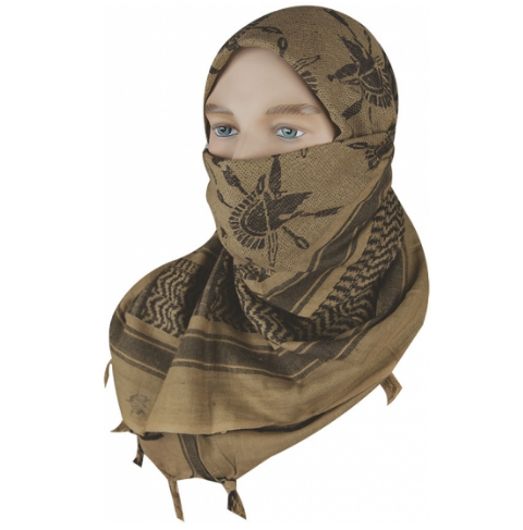 "5IVE Star Shemagh Desert Scarf Cotton Coyote / Black Trojan 42x42"" 3757000 - WarriorInc Tactical Gear"