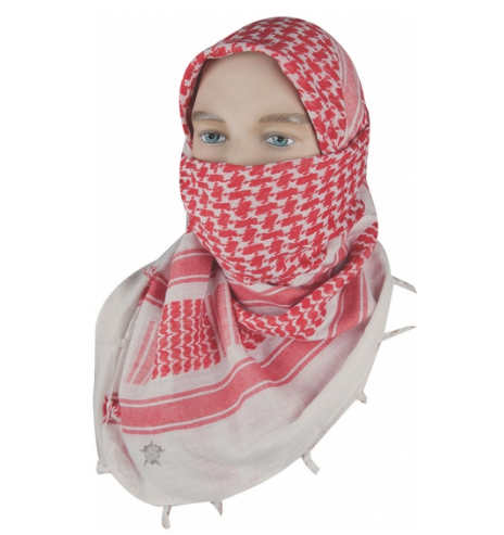 "5IVE Star Shemagh Desert Scarf Cotton Red / White 42x42"" 3755000 - WarriorInc Tactical Gear"