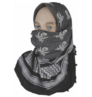 "5IVE Star Shemagh Desert Scarf Cotton Black / White Jolly Roger 42x42"" 3748000 - WarriorInc Tactical Gear"