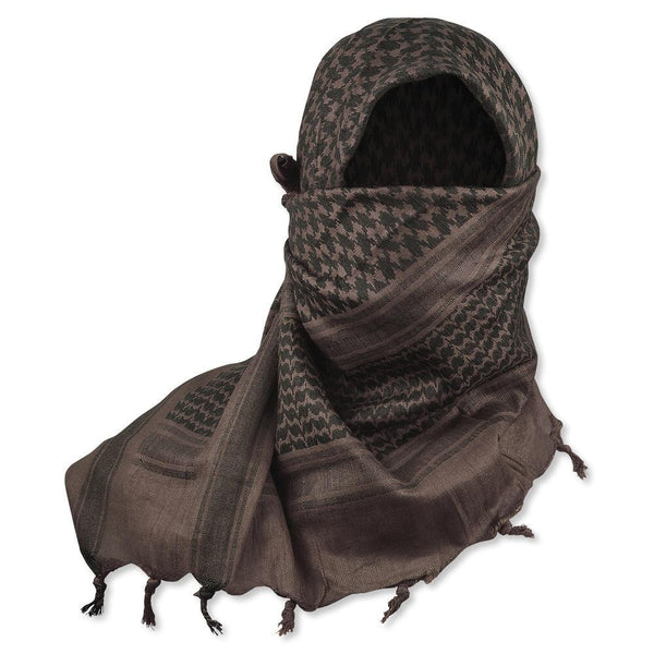 "5IVE Star Shemagh Desert Scarf Cotton Mocha Black 42x42"" 3740000 - WarriorInc Tactical Gear"