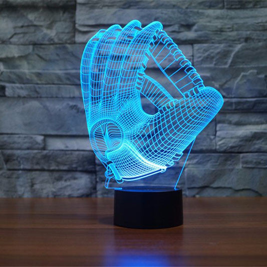 D Effect Baseball Gloves Color Changing Touch Lamp