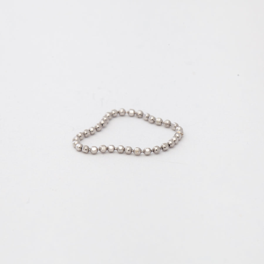 White Gold Bead Chain Ring