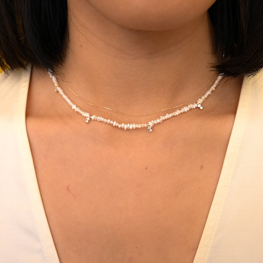 Two Diamond Amigos Freshwater Pearl Chain Necklace
