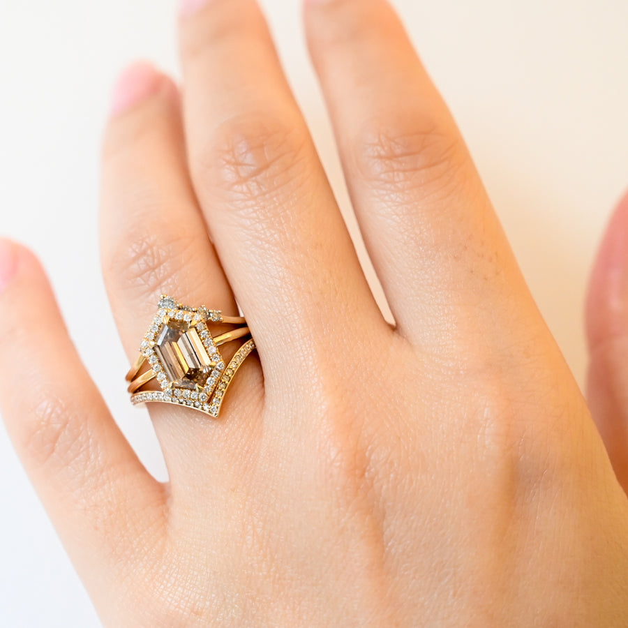 Champagne Hexagon Eleonore Halo Ring