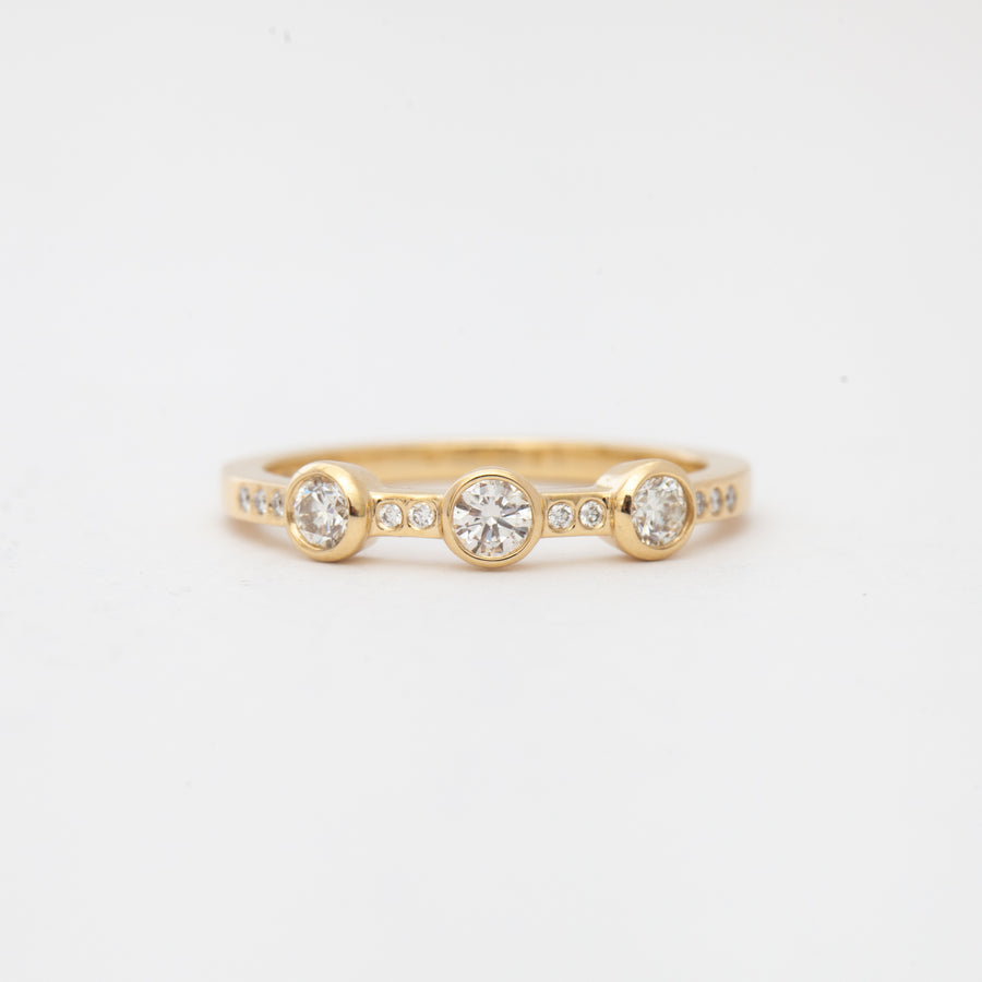 Three Stone White Diamond Theia Ring