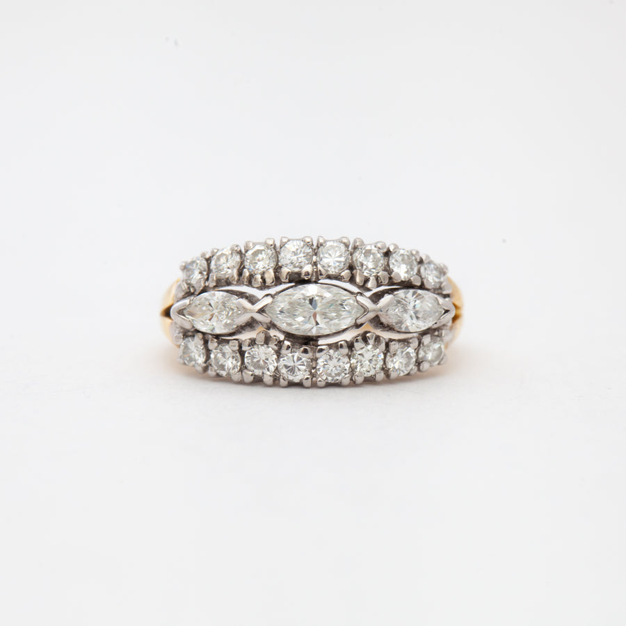 Marquise Diamond Three-Row Band