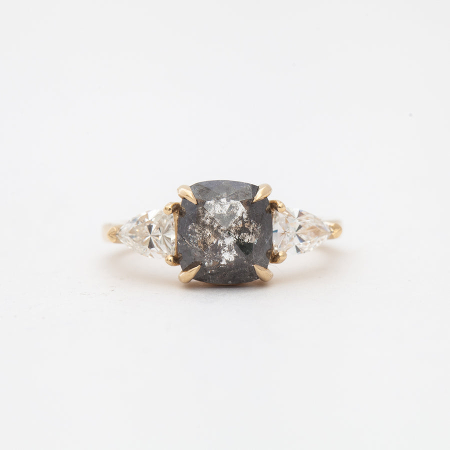 1.94 ct Rose-Cut Cushion Gray Diamond Three-Stone Ring