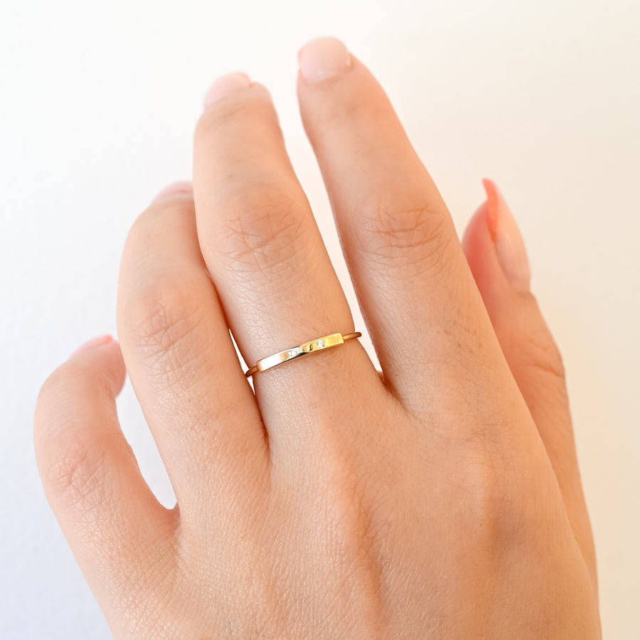 Horizontal Diamond Bar Ring