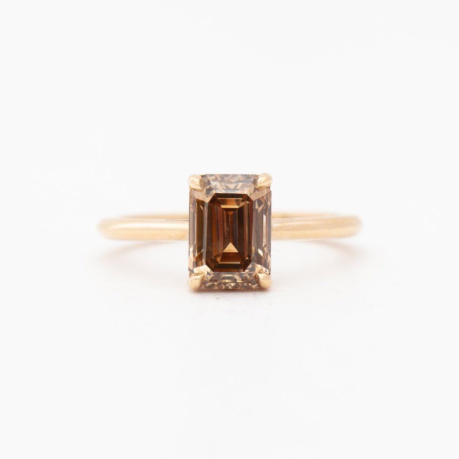 2.22 ct Emerald-Cut Champagne Diamond Bea Solitaire