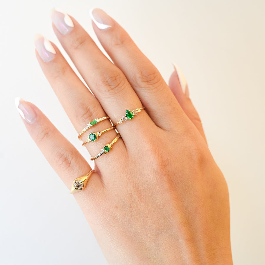 Pear Emerald Bellatrix Ring