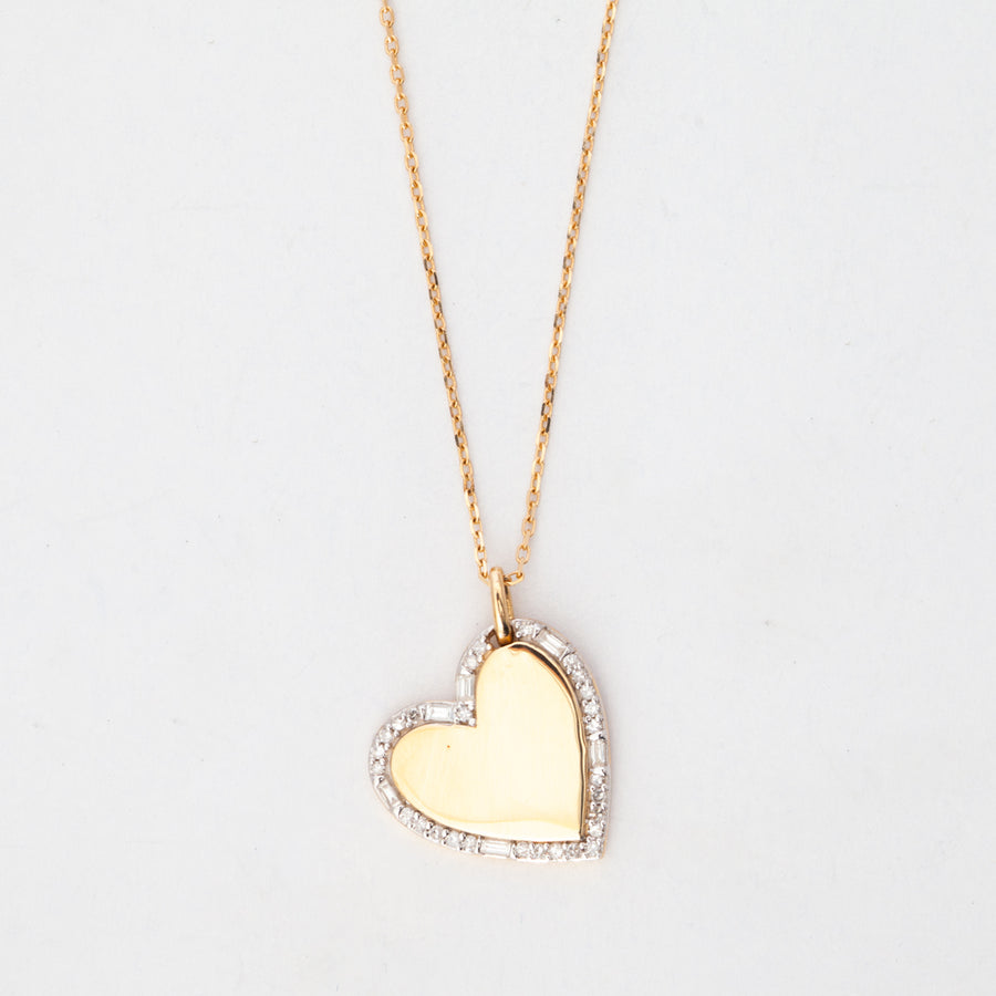 Heart Pavé and Baguette Dog Tag Necklace