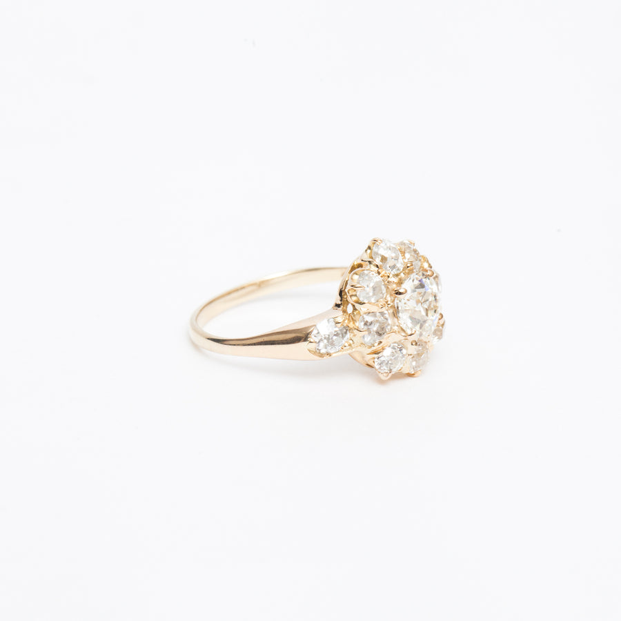 2.26 ctw Victorian Flower Halo Ring