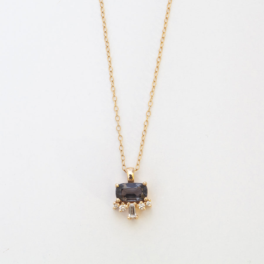Lucy Spinel & Diamond Pendant Necklace
