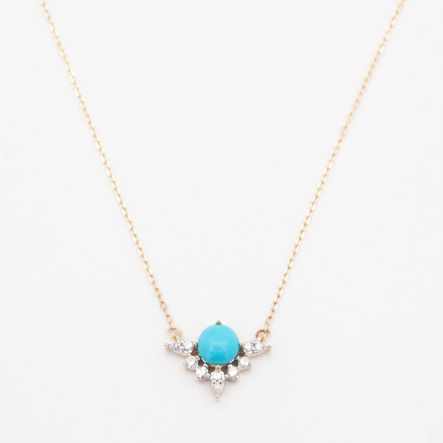 Turquoise & Marquise Diamond Necklace
