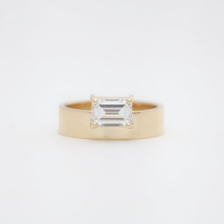 Large Horizontal Emerald Cut Monolith Ring