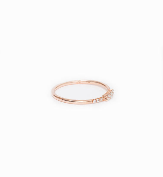 Rose Gold Three Diamond Equilibrium Ring