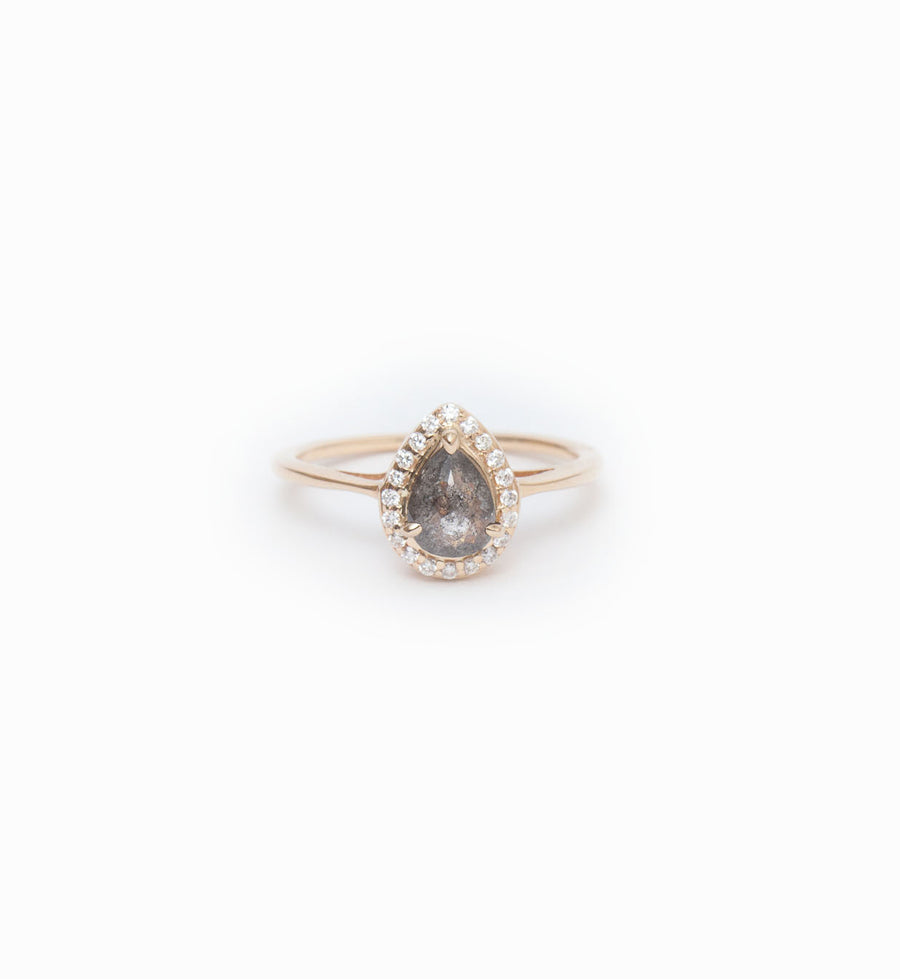 Grey Diamond Pear Rosette Ring: Front