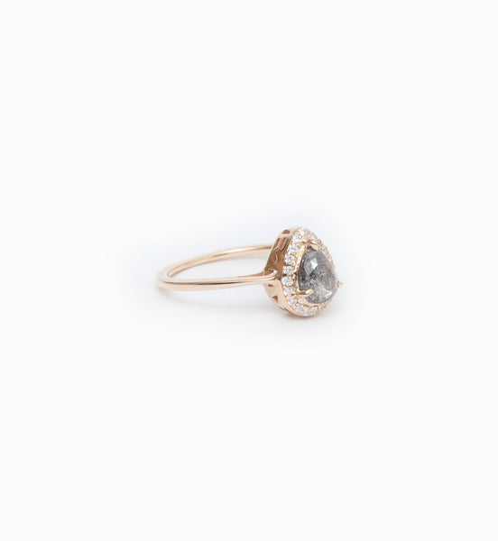 Grey Diamond Pear Rosette Ring: Angle