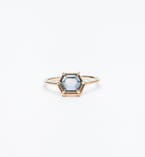 Nestled Hexagon Slice Sapphire Ring