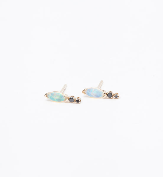 Marquise Opal & Black Diamond Earrings