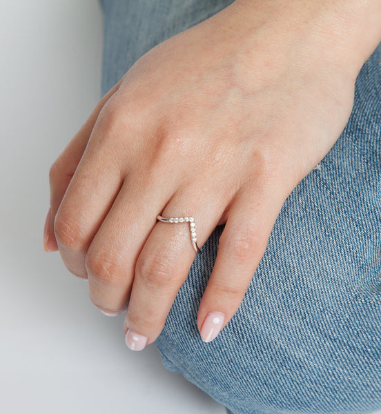 White Diamond Triangle Nesting Ring