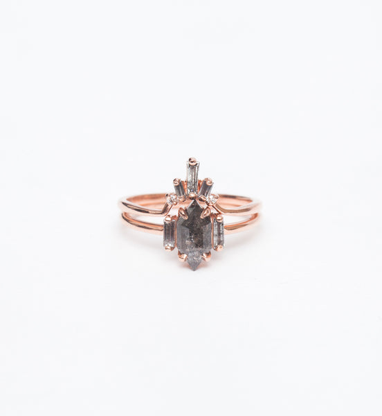 Zoe Hexagon & Baguette Diamond Ring