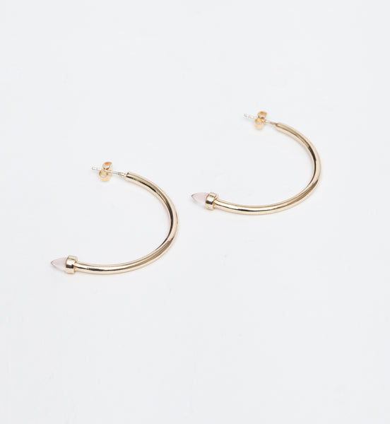 Gold/Rose Quartz Zenith Hoops