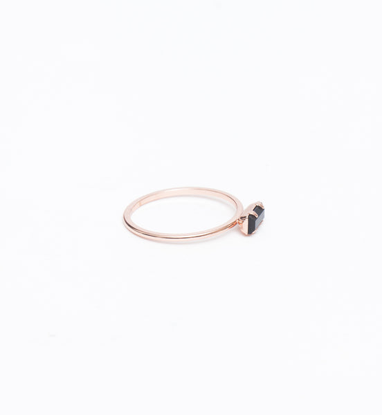 Rose Gold/Jet Tiny Baguette Ring
