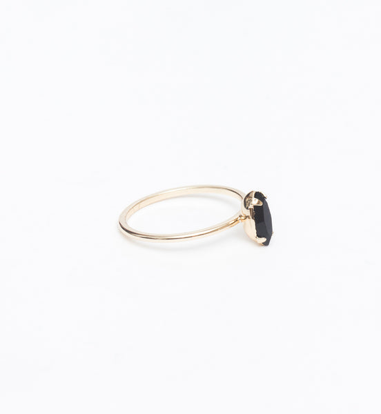 Gold/Jet Tiny Marquis Ring
