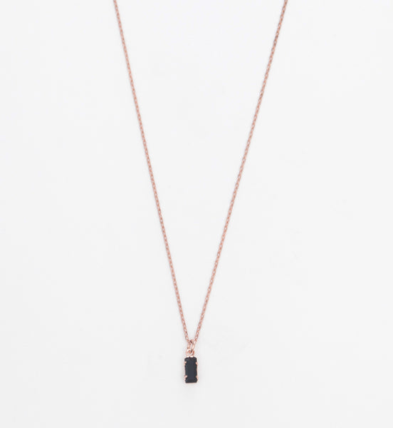 Rose Gold/Jet Tiny Baguette Necklace